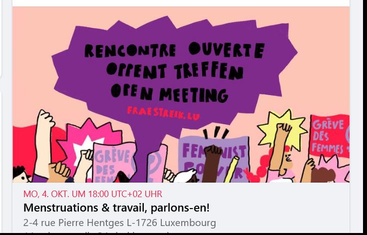 Rencontre ouverte: Menstruations & travail